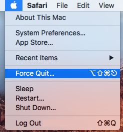 Force Quit Application Option On Mac