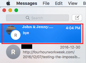 Group Chat On Messages Screen of Mac