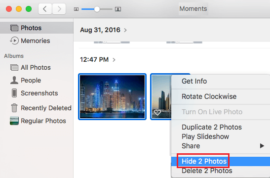 Hide Multiple Photos on Mac
