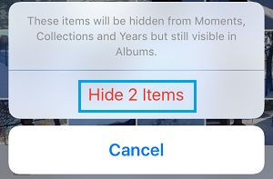 Hide Photos pop-up on iPhone