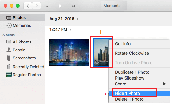 Hide Single Photo on Mac Photos App