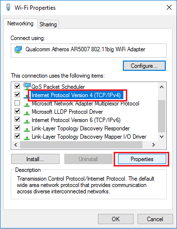 Internet Protocol Version 4 (TCP/IPv4) Properties Option in Windows 10