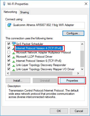 Internet Protocol Version 4 (TCP/IPv4) Properties Option in Windows 10