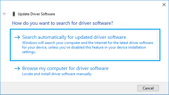 Search Automatically for Updated Driver Software Option in Windows 10