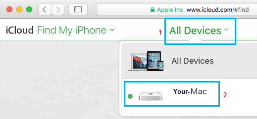 All Devices Tab on Find My iPhone Service on iCloud