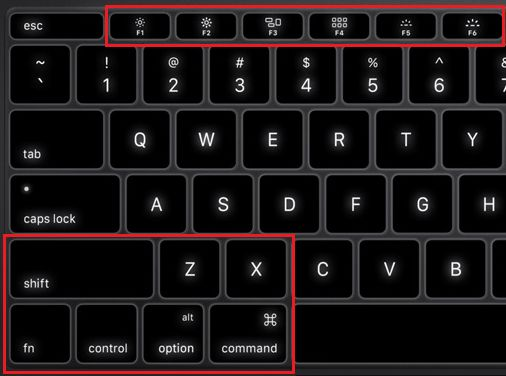 Mac Keyboard Showing Command and F5 Keys