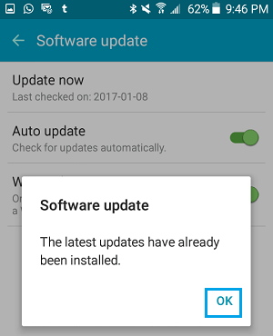 Software Update Status Pop-up on Android Phone