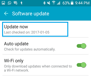 Check For Software Update Now Option On Android Phone