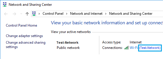 Network And Sharing Center Screen in Windows 10