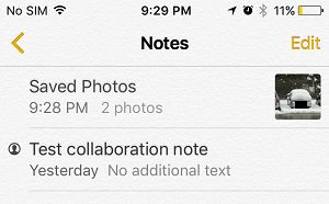 Note With Hidden Photos on iPhone