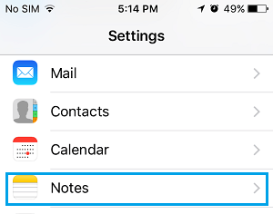 Notes App Settings Option On iPhone