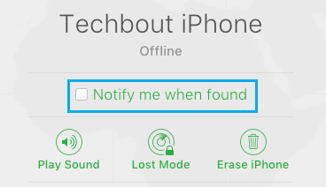 Notify Me When Found Option in Find My iPhone Service