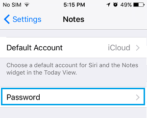 Password Settings Option For Notes App On iPhone