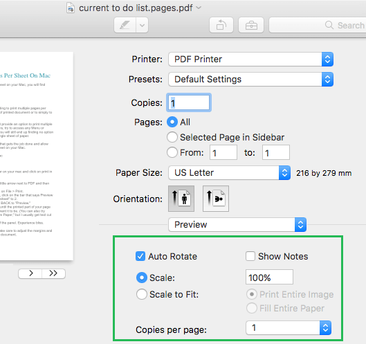 Preview Mode Print Options on Mac