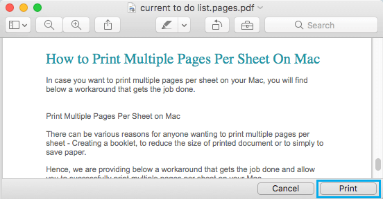 Print PDF Document Option on Mac