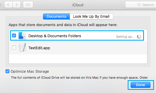 Provide iCloud Drive With Access to Desktop and Documents Folder