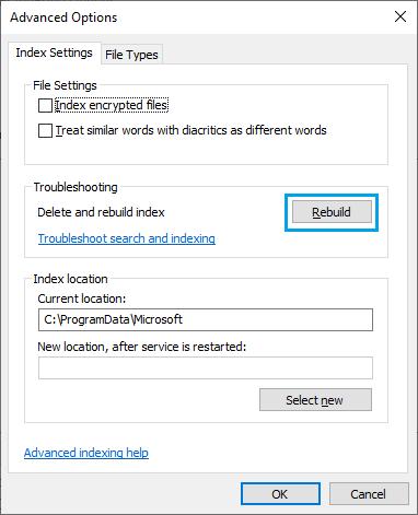 Rebuild Windows Search Index