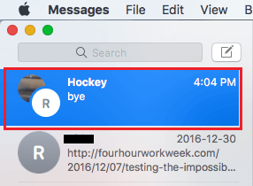 Renamed Group Chat On Messages Screen of Mac
