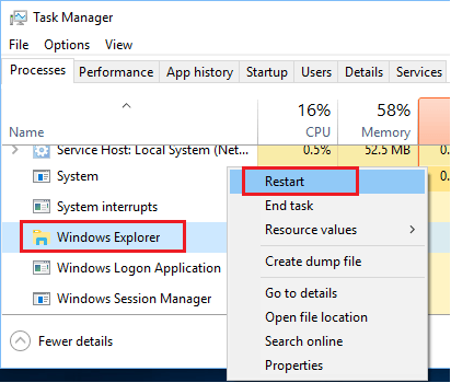 Restart Windows Explorer Option in Windows 10 Task Manger Screen