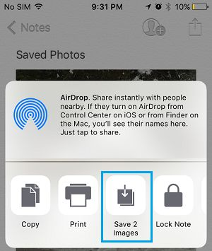 Save Images From Notes to Photos App on iPhone