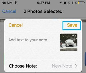 Save Photos to Notes On iPhone