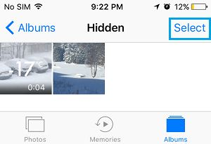 Select Hidden Photos On iPhone