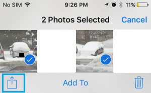 Share Option on Photos App on iPhone