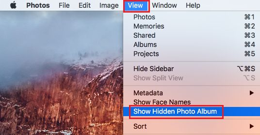 Show Hidden Photo Album on Mac