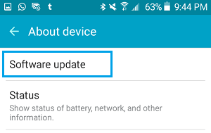 Software Update option on Android Phone