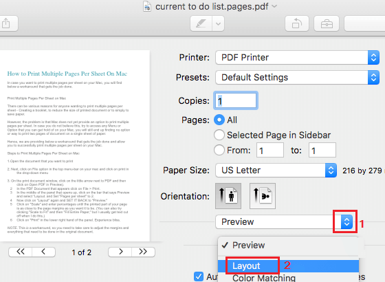 Switch From Print Preview to Layout Option on Mac
