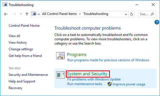 System and Security Option in Control Panel in Windows 10