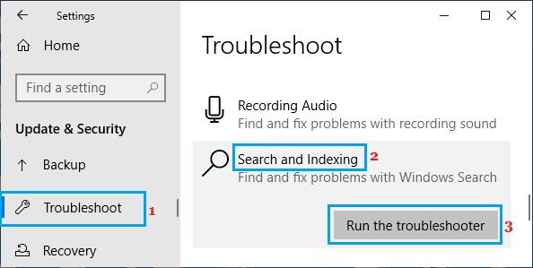 Run Windows Search And Indexing Troubleshooter