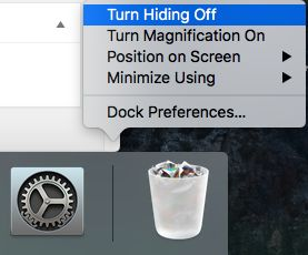 Turn Dock Hiding Off Option on Mac