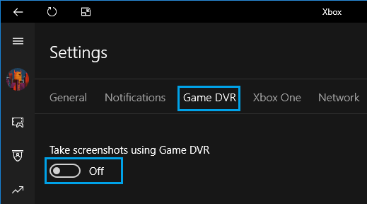 Disable Take Screenshots Using Game DVR Option in Windows 10