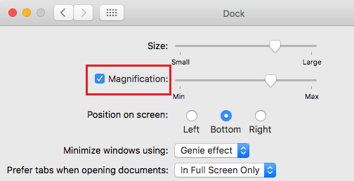 Turn on Dock Magnification on Mac