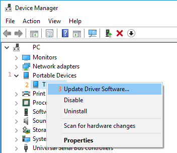 Update Driver Software option in Windows 10