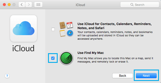 Use Find My Mac Option in iCloud on Mac