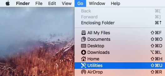 Utilities Option in the Go Menu of Mac