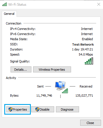 WiFi Network Status Screen in Windows 10