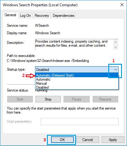Choose Startup Type on Windows Search Properties Screen in Windows 10