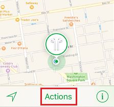 Actions Tab in Find My AirPods Service on iPhone