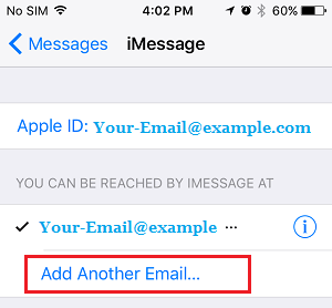 Add Another Email to iMessage On iPhone