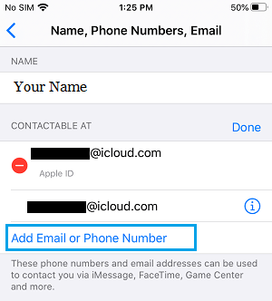 Add Email or Phone Number option on iPhone