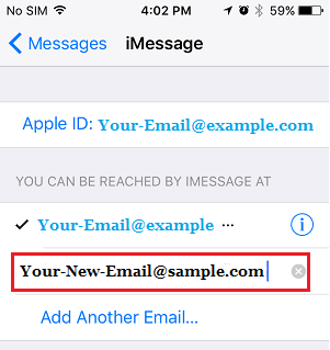 Add New Email Address to iMessage Account on iPhone