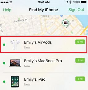 AirPods Listed in Find My iPhone Service