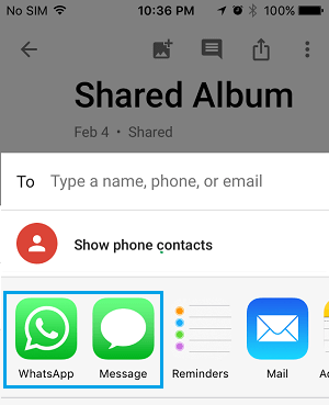 Various Sharing Options in Google Photos App