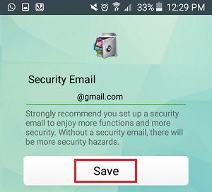 Enter Security Email Into AppLock App on Android Phone