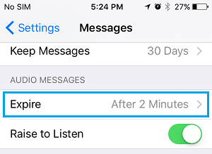 Audio Messages Expire Settings Option on iPhone