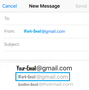Select Email Account to Send Email From on iPhone