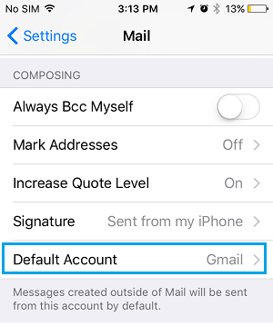 Set Default Account Option on iPhone